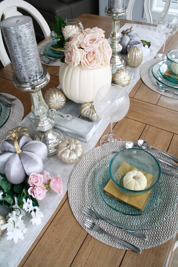 Pink rose and gold pumpkin fall table