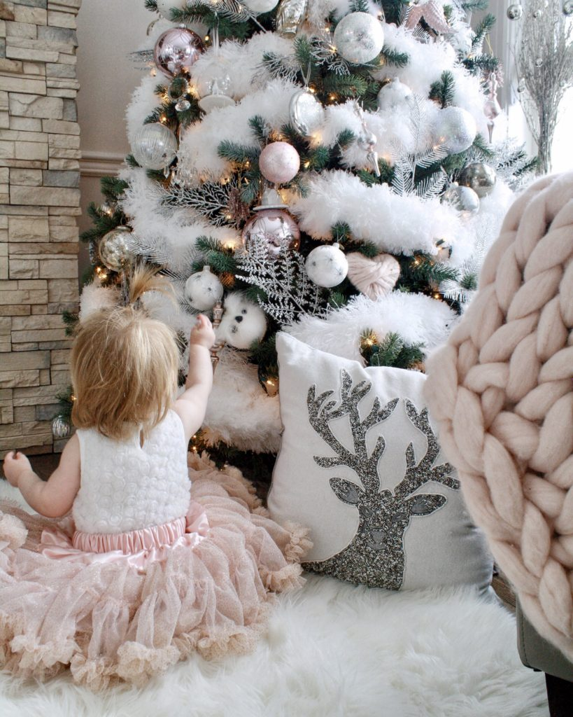 Glam Christmas Home Tour Showcasing Fluffy White Feathered Christmas