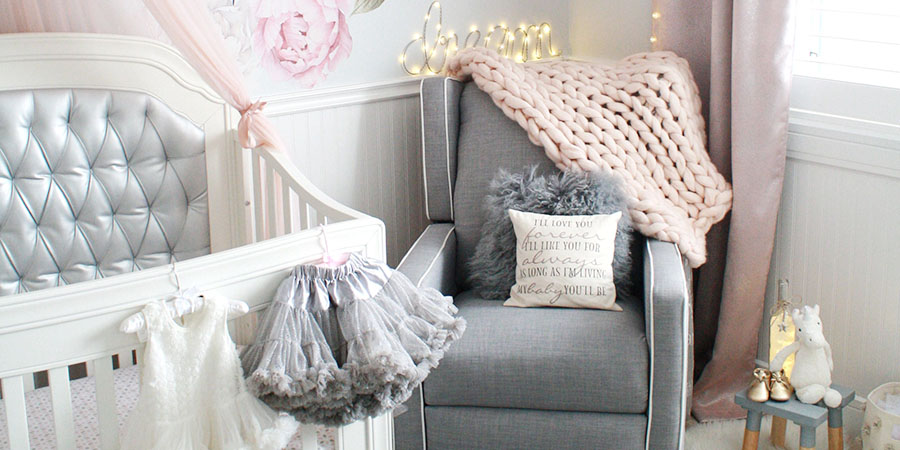 Glamorous Pink And Gray Nursery Baby Girl Nursery In Gray White