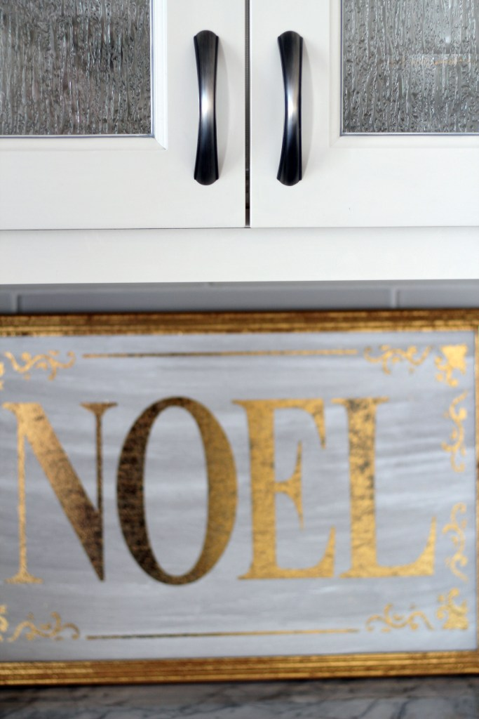 Noel sign in kitchen - Glam Christmas home decor