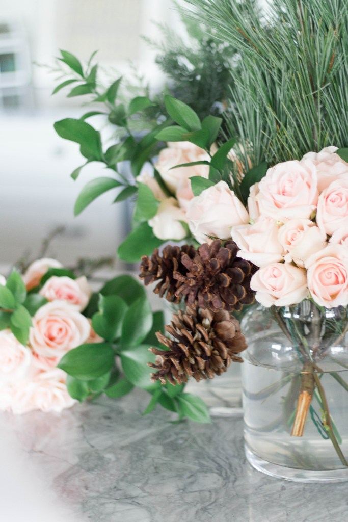 Chic Christmas Table Setting - Silver, White and Pink Glam Christmas Tablescape with Fresh Greenery on Chandeliers and Champagne