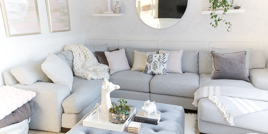Light And Bright Kid Friendly Living Room Grey Gold And Blush