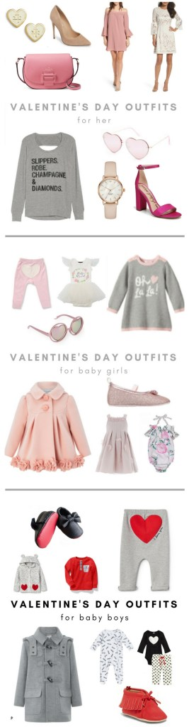 Cute Valentine's Day outfits for baby girls, baby boys and their Mommas - Fun, cute Valentine's Day outfits on Chandeliers and Champagne