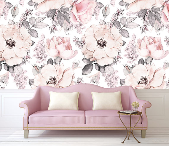 Feminine and elegant blush pink floral peel and stick wallpaper by Rocky Mountain Decals - sophisticated blush pink decor - nursery and playroom wallpaper for girls