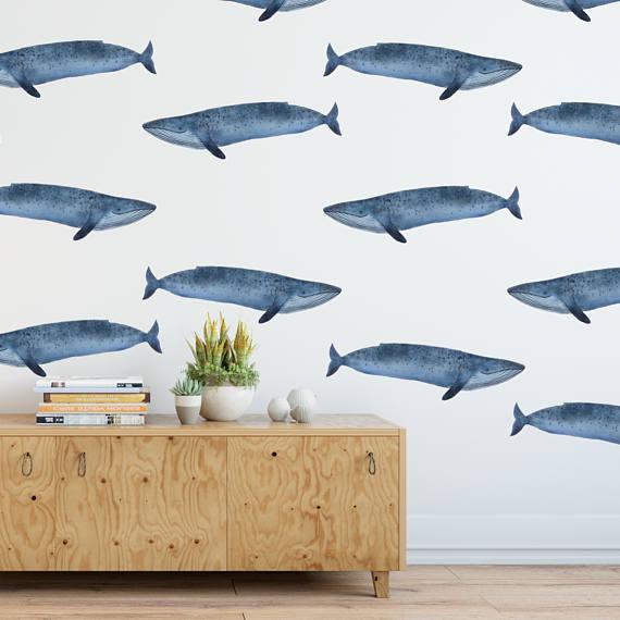 Blue whale Rocky Mountain Decals - perfect boys nursery decor - nursery wall decals for boys