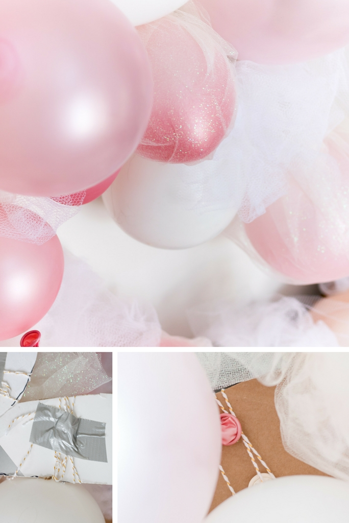 I affixed the balloons in my tulle balloon garland with string and duct tape