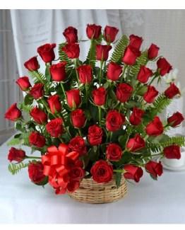 CF Red Roses Basket Arrangement