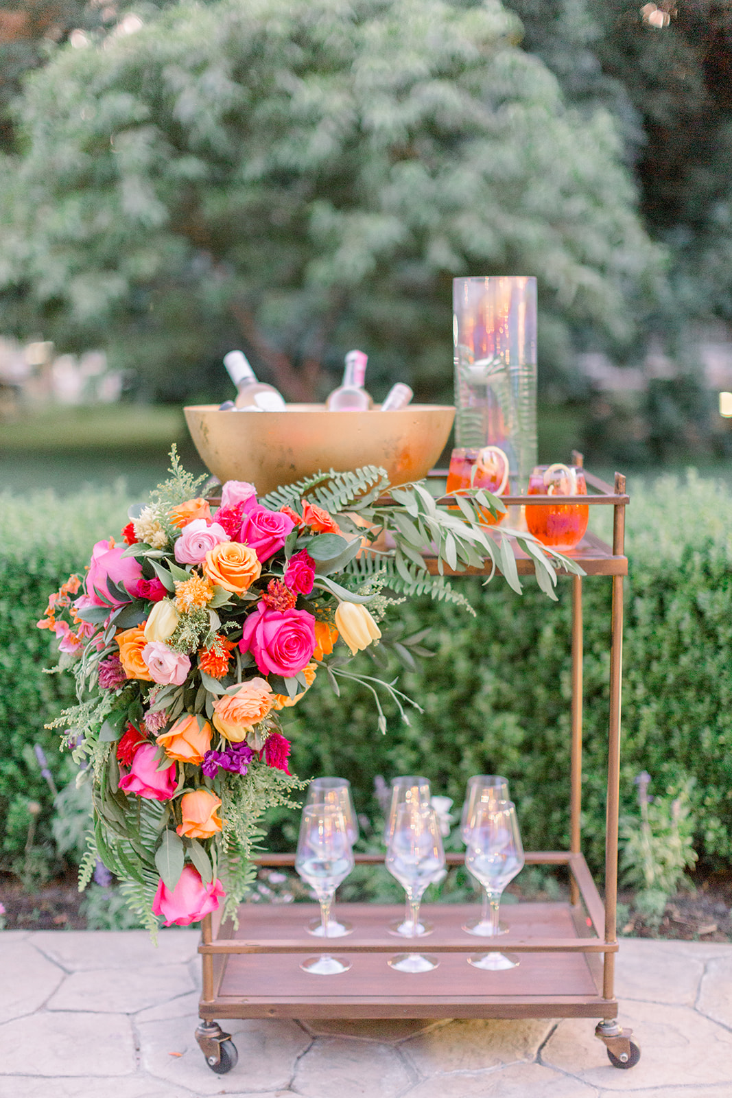 Bright and bold wedding bar cart by CH&LER