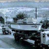 Photo - R.A.F Launches being Transported across the Chandler's Ford Road / Rail Bridge in 1950s / 1960s