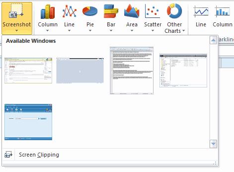 Excel 2010 - Screenshot Picker tool