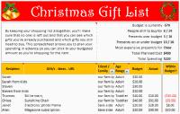 Holiday Gift List Tracker - snapshot