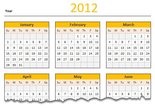 FREE 2012 Calendar - Excel Template