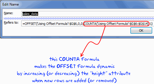 Dynamic Named Range using OFFSET formula