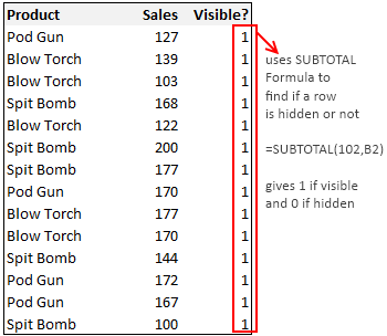 Finding if a row is hidden or not using Excel SUBTOTAL Formula