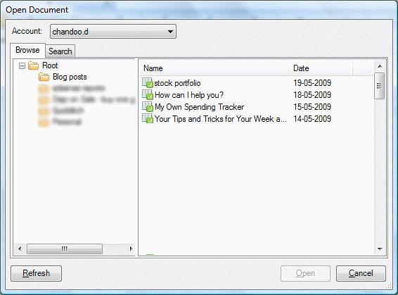 OffiSync - MS Excel Addin for editing Google Docs - Screenshot