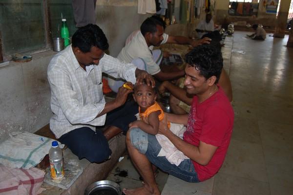 Nishanth getting tonsured