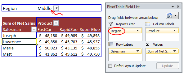 Pivot Table Report Filters - how to add them?