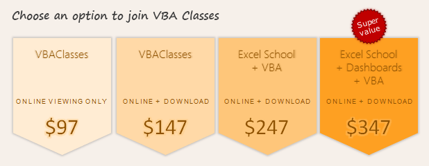VBA Classes - Signup Options