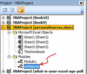 Personal Macros Workbook - Macros Module in VBE