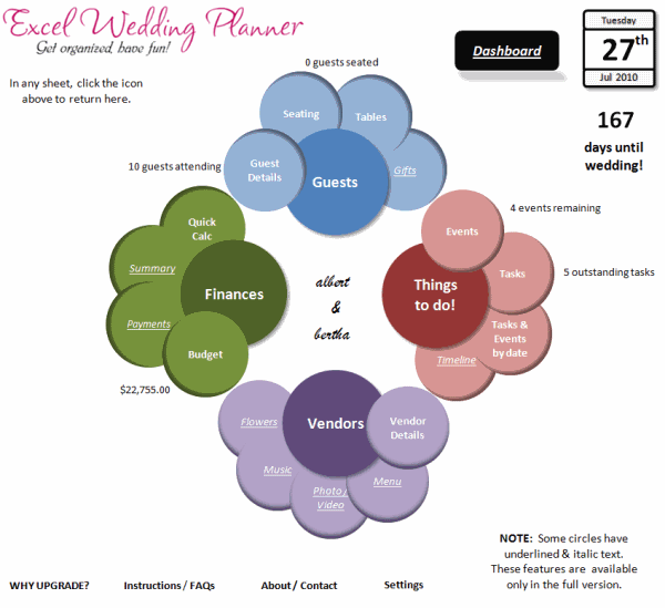 Excel Wedding Planner - Features