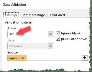 data validation list - interactive chart