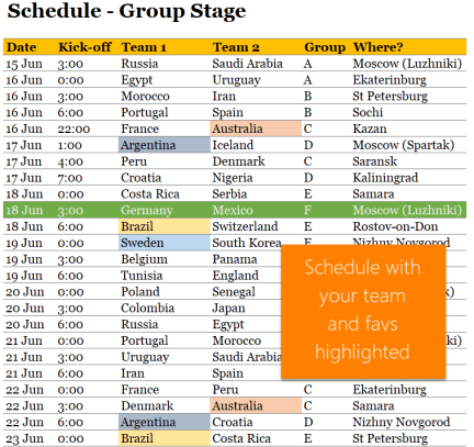 2018 soccer world cup Excel - group schedule