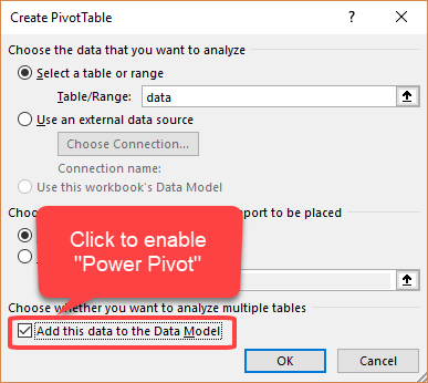 add to data model option excel pivot tables