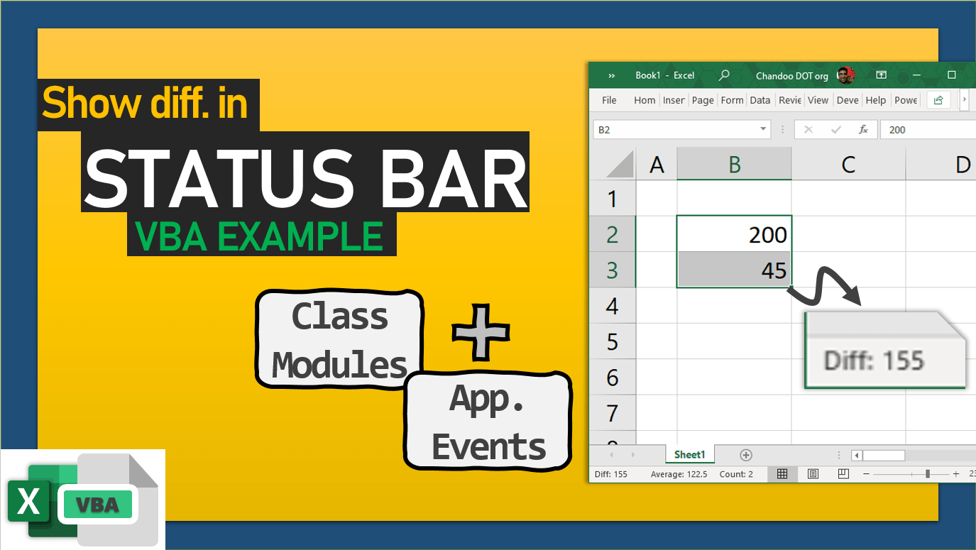 show cell difference in Excel status bar using VBA