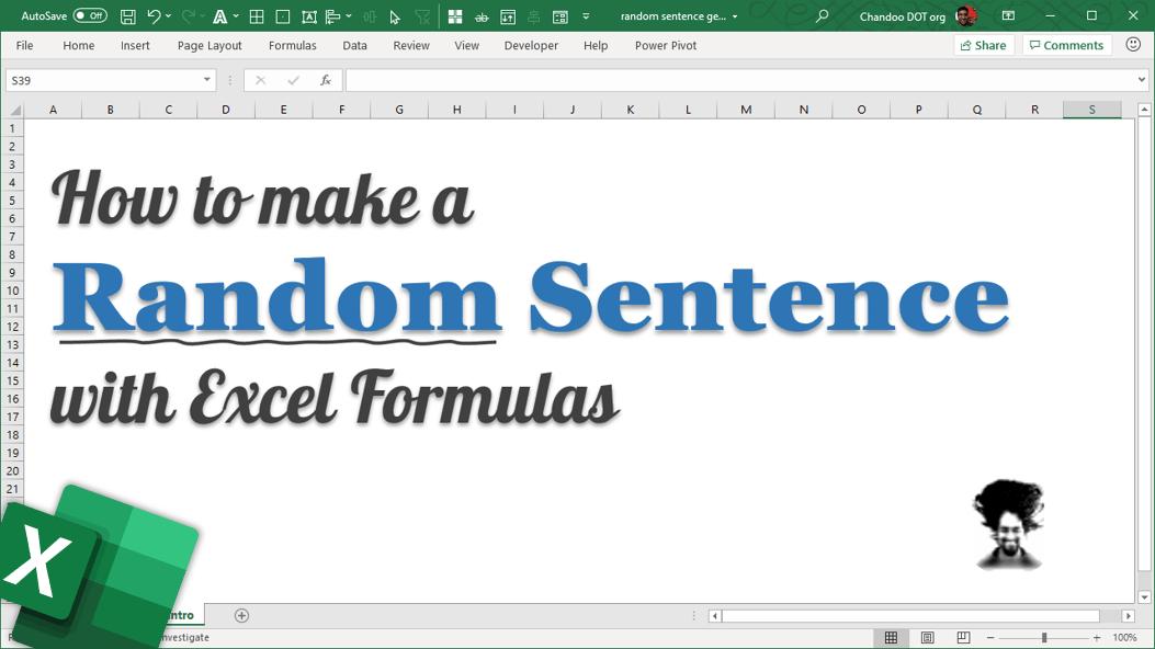 Random sentence with excel formulas