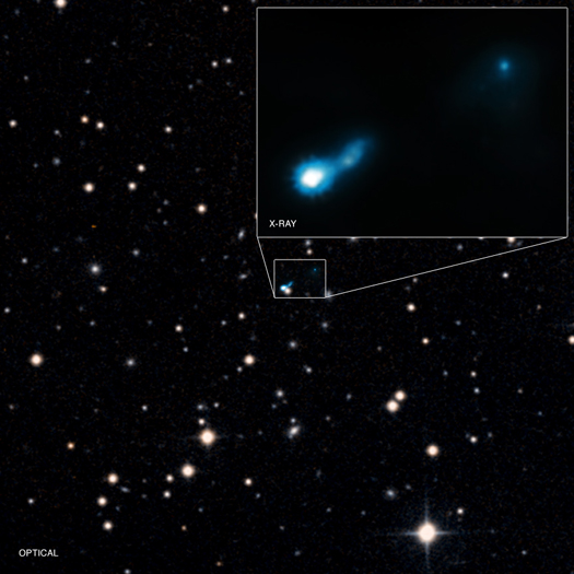 A jet from a very distant black hole, called B3 0727+409, has been found using the Chandra X-ray Observatory.