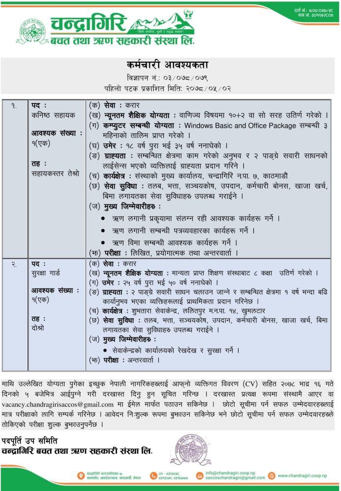 Chandragiri Saccos Vacancy