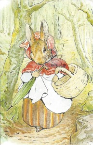 "Week 96: From Pam (USA): Illustration by Beatrix Potter from _The Tale of Peter Rabbit_, 1902. Mrs. Rabbit in the woods. ""Old Mrs Rabbit took a basket and her umbrella, and went through the wood to the baker's."""