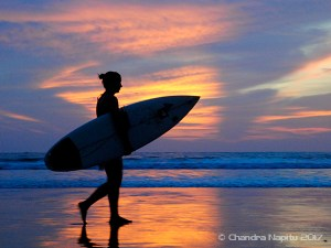 Sunset surfing photo shoot in Legian