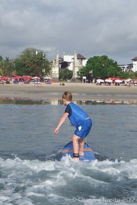 Beginner surf lessons for kids in Bali