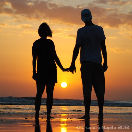 Romantic sunset photo shoot on Legian Beach
