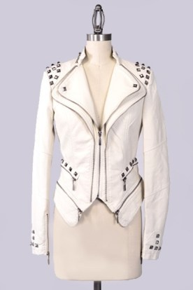 White faux leather biker jacket with stud detail 57% Polyurenthane, 43% Viscose Available in White, Blush Pink is only displayed to show another view of this item