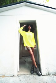 Neon yellow cable knit oversized crew neck 55% Acrylic, 45% Cotton Unisex Wear as a dress or with leggings