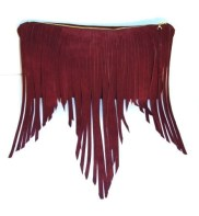 """Unique clutch with fringe that hang and fall into a """"M"""" shape 100% Suede Lined Inside pocket Top zip"""
