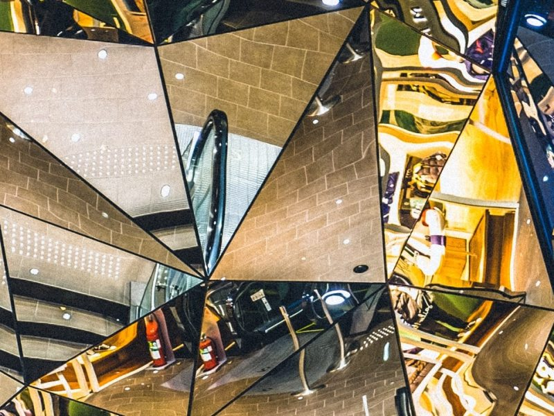 image made up of many reflective surfaces and mirrors