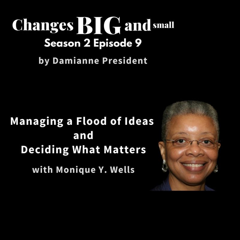 cover art of episode 52 with Monique Wells on managing the flood of ideas and doing what matters