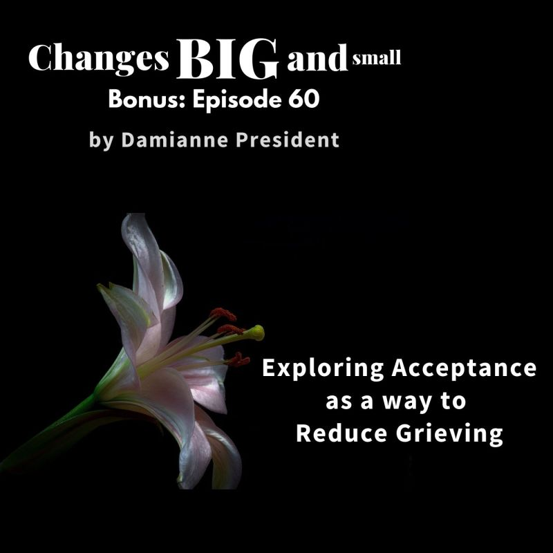 episode 60 changes big and small podcast artwork showing a white lily on a black background on the topic of acceptance and reducing grieving