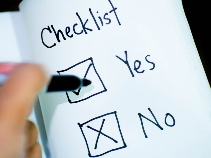 Checklist showing yes/no options