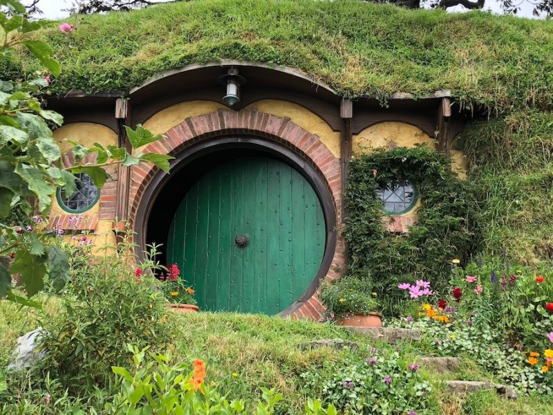 backyard image with a round door and flowers around