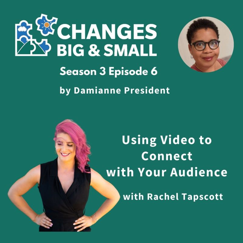 podcast cover image showing picture of Damianne and Rachel for episode Using Video to Connect with your audience with Rachel Tapscott