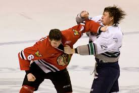 Two hockey players in a fight