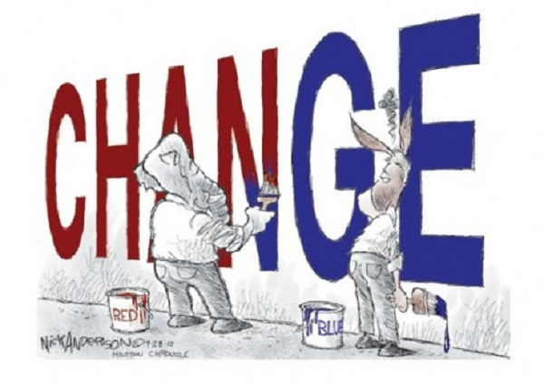 Wall with the word change on it. An elephant and a donkey are using red and blue paint to change the color of the word