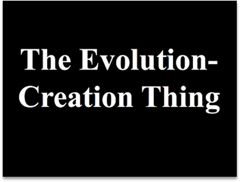 Black poster with white print that says, The Evolution-Creation Thing