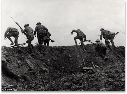 Black and White photo of world War ! soldiers charging out of a trench into enemy fire