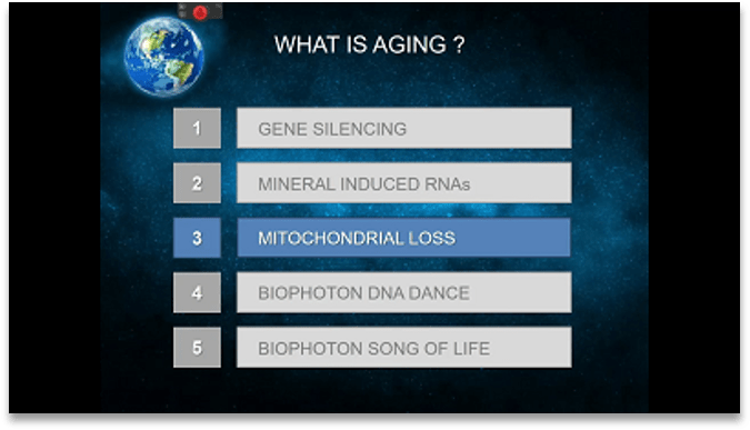 Kist of Ways Humans Age, including: Gene Silencing; Mineral Induced RNAs; Mitochrondrial Loss; Biophoton DNS Dance; Biophoton Song of Life