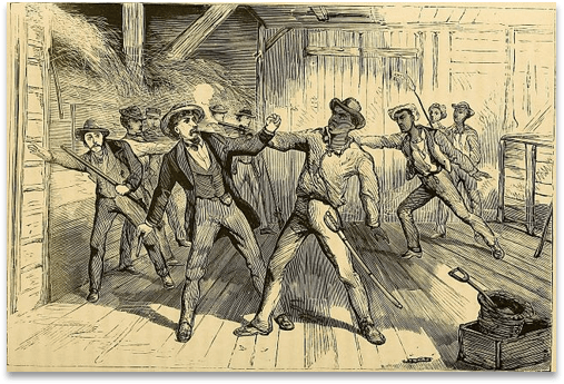 Drawn picture of black slaves fighting off white slavers trying to recapture them.
